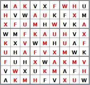 jeux mensuel Janvier 2019 - N°10 - 10 sol sudoku lettres E15207-AFHKMUVWX - niveau facile